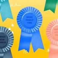 Prize ribbons denoting silver linings of 2020