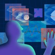 Illustration of a person interacting with several touch screens