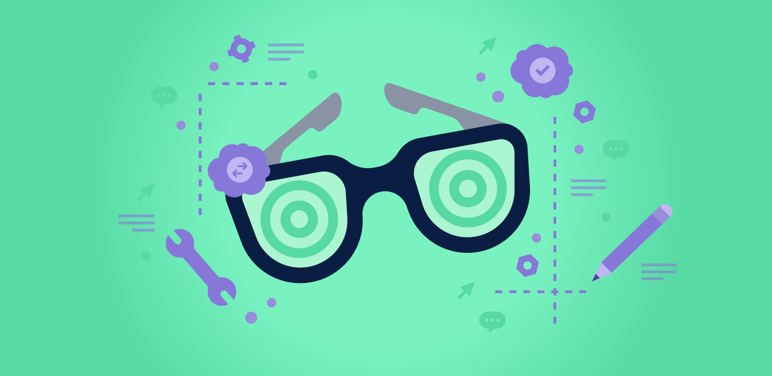 A pair of glasses surrounded by icons denoting information overload