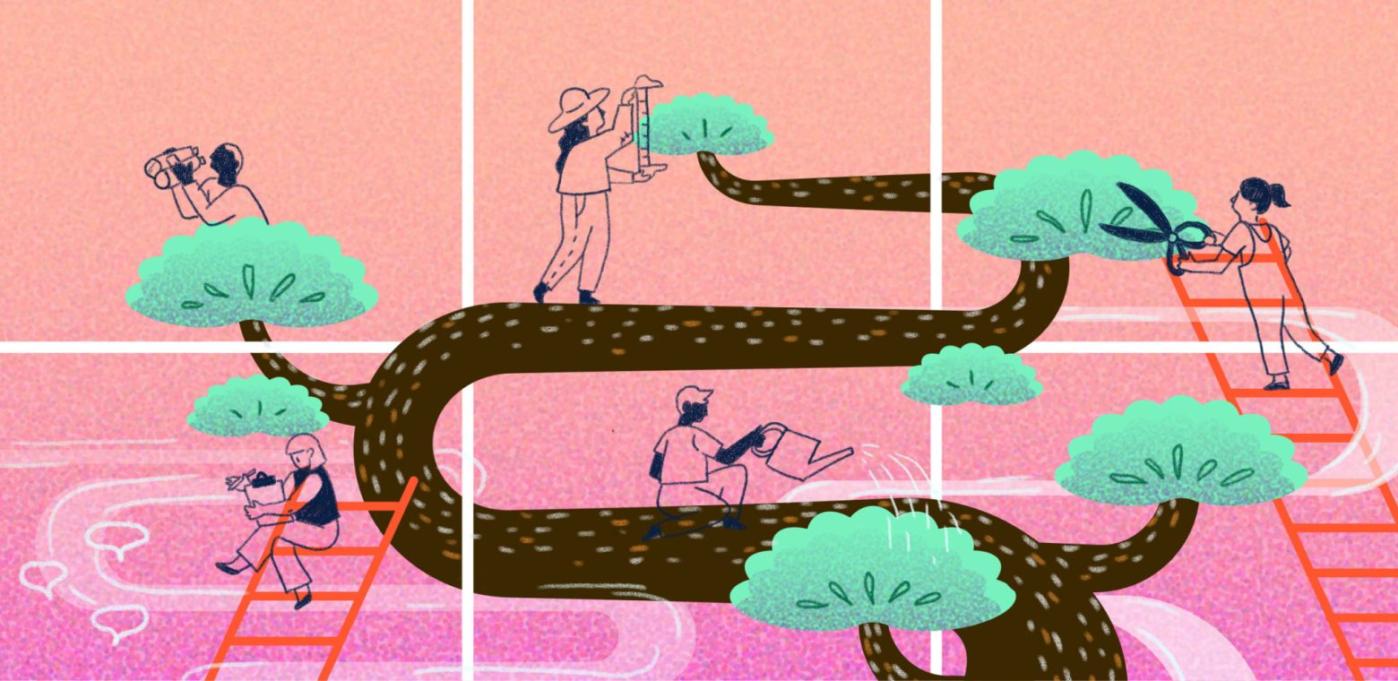 Illustration of people pruning a larger-than-life bonsai tree