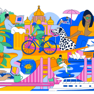 Illustration of people in different cities engaging in various creative activities
