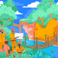 Illustration of a jungle guide trying to convince people to take a path that looks risky