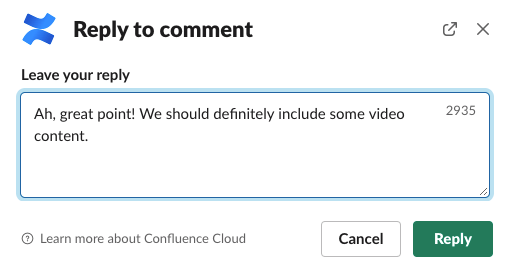 reply to comment screenshot
