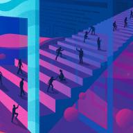 People walking through a doorway into a digital world, signifying digital transformation