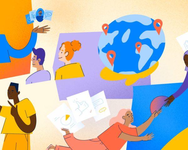 work friends header illustration