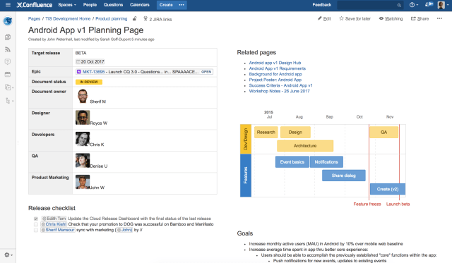 example release planning page