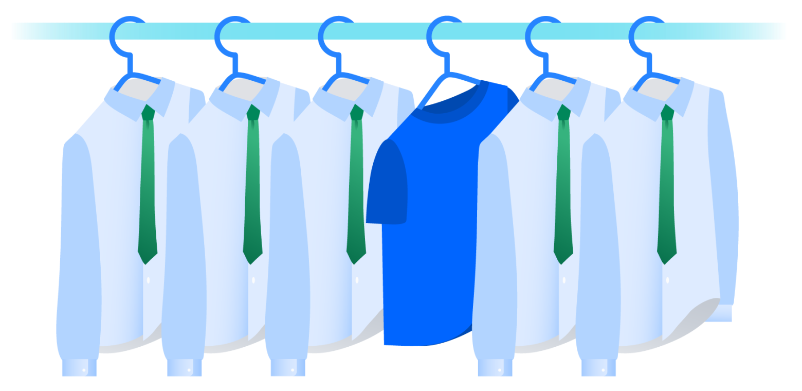 Illustration of coat rack with five identical hanging shirts with green ties and one blue t-shirt