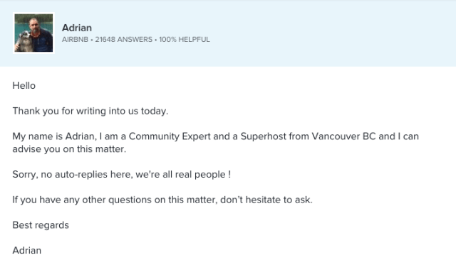 Airbnb customer service email