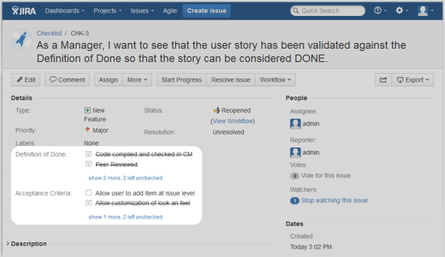 screenshot: definition of done example in a Jira issue.