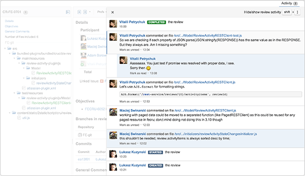 Review activity stream screenshot