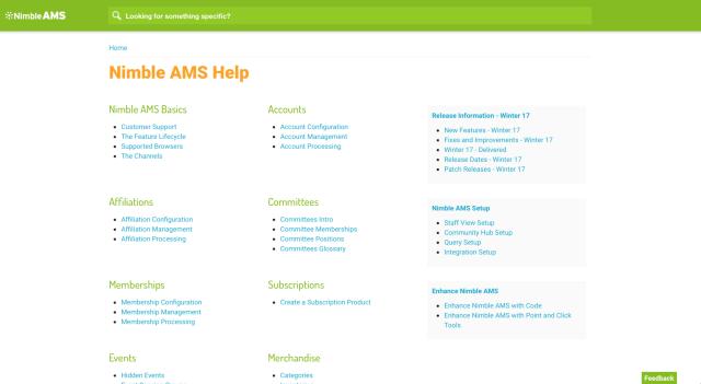 screenshot of documentation site