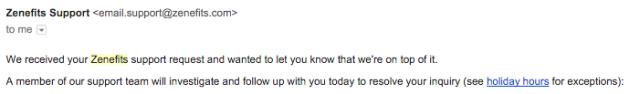 Zenefits customer service email