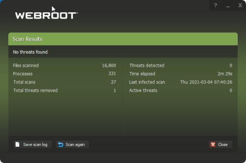 Webroot User Screen