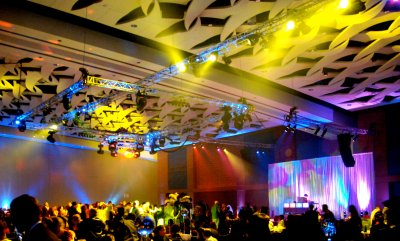Convention Center Ballroom Transformed for Corporate Party