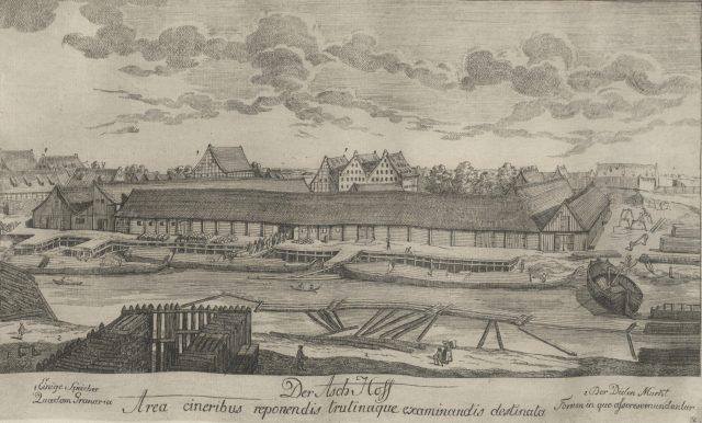 Rycina Matthaeusa Deischa przedstawiająca Dwór Popielny. (Lata sześćdziesiąte XVIII wieku. Źródło: www.polona.pl)