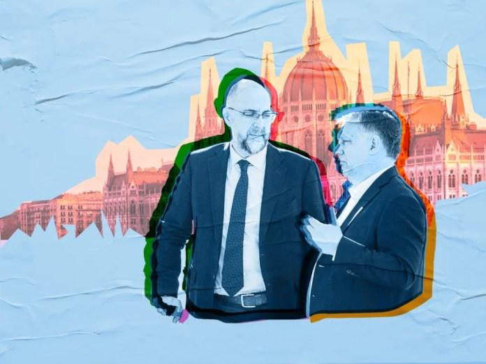 Orbán Viktor és Kelemen Hunor. Szén András grafikája