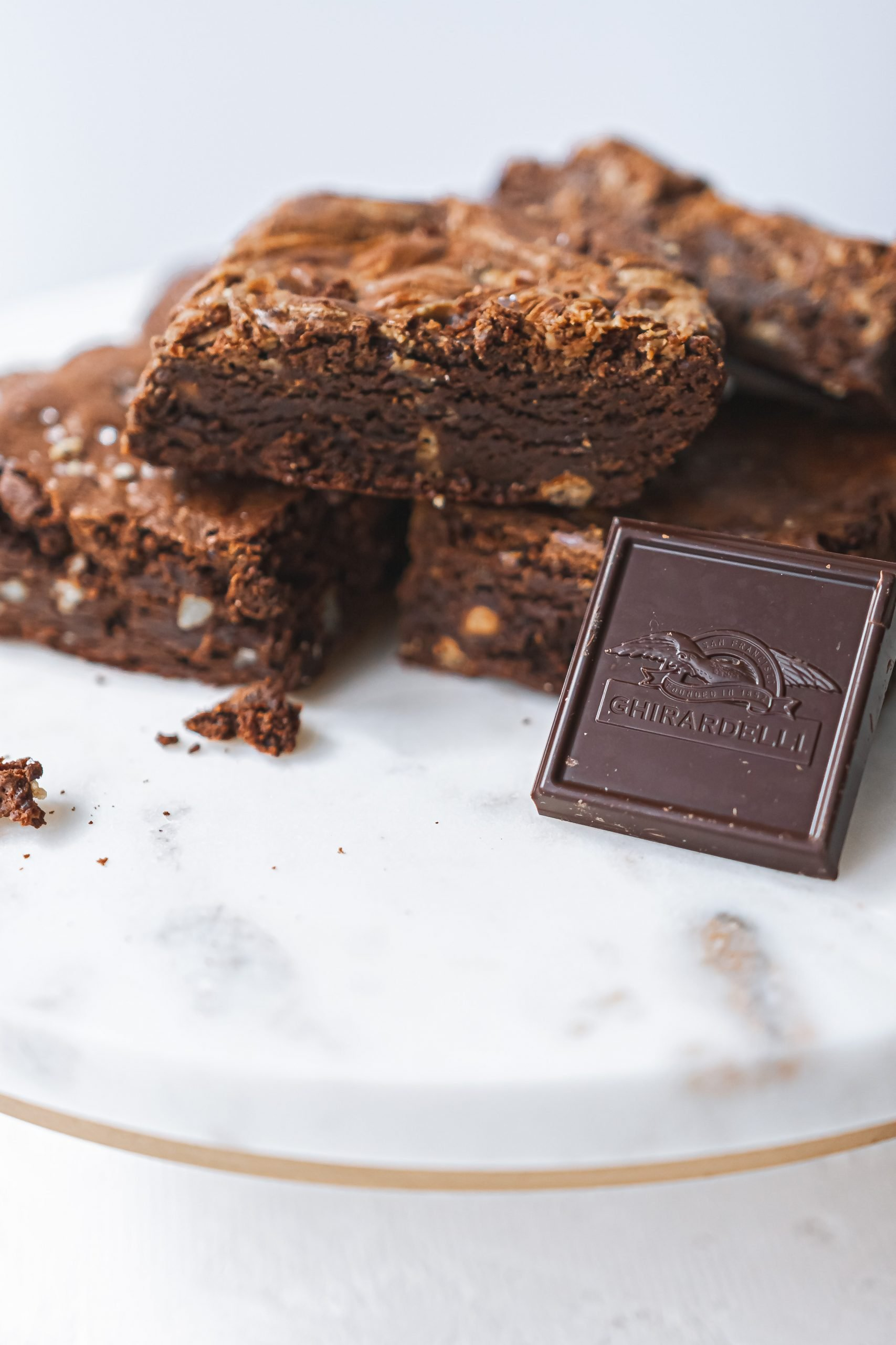 Food photo of brownies with Ghirardelli chocolate square