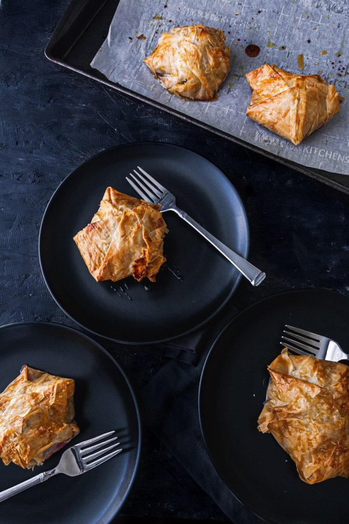 Beet and goat cheese phyllo tart