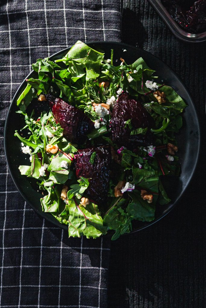 Roasted beet salad with beet greens and goat cheese