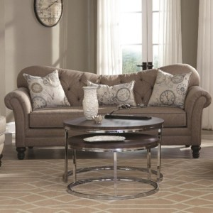 Carnahan Traditional Sofa with Tufted Reverse Camel Back
