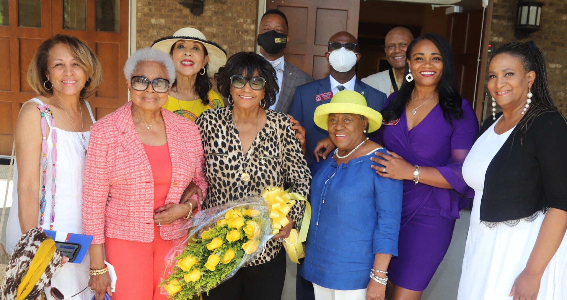 On June 30, 2021, friends, family, and political leaders gathered as Atlanta's Henrietta P. Antoinin was honored by the State of Georgia for her service and activism. Pictured here are, left to right: Linda Gulley, Billye Aaron, Carolyn Young, honoree Henrietta P. Antoinin, Georgia State Representative Derrick Jackson (District 64), 2022 Democratic Candidate for Georgia Labor Commissioner William K. Boddie, Jr., Ruby Lucas, Don Rivers, Georgia State Representative Donna McLeod (District 105), and Sophie Gibson at Friendship Baptist Church on Walnut Street in southwest Atlanta, Georgia. Photo by John B. Smith, Jr.