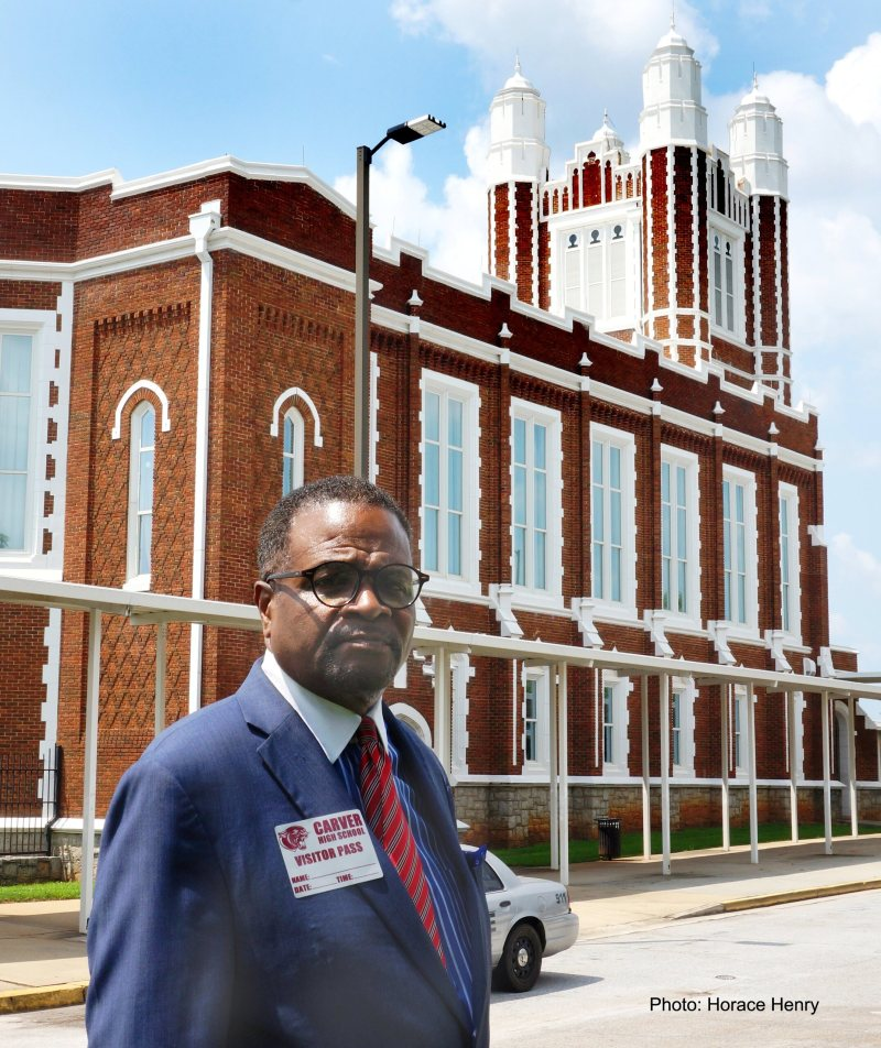 Clark Atlanta University President, Dr. George T. French, Jr. visits his school's original campus which is now the APS school The New Schools at Carver. Photo by Horace Henry