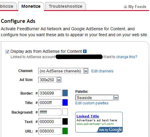 Google Ads configuration on Feedburner