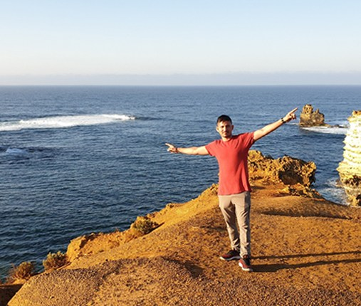 Sandeep Singh makes a pit stop at the 12 Apostles in Victoria