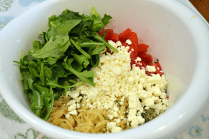 grannie geek, orzo salad in bowl