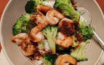 Orange Shrimp with Broccoli and Garlic