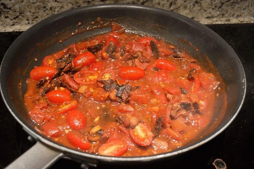 at mimi's table baked gnocchi with bacon, tomato, mozzarella 7