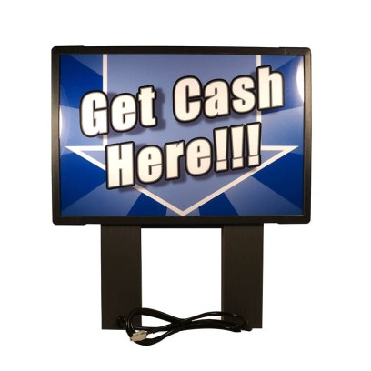 """Genmega Blue Topper - Bright """"Get Cash Here"""" Topper for Tranax/Genmega 1700, 1700W, G1900, G2500"""