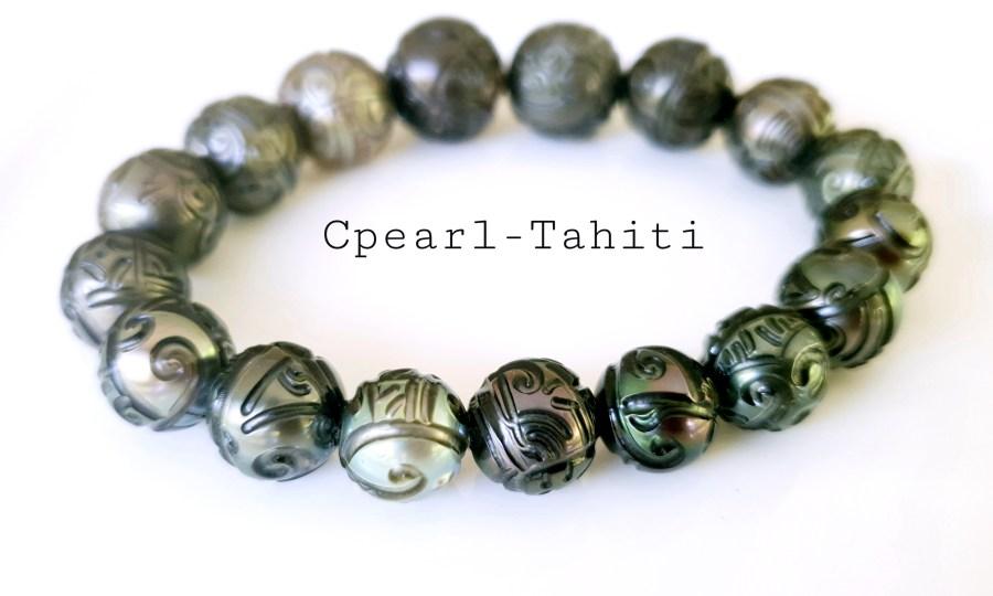 Bracelet Perles de Tahiti Gravées extensible 11-12mm