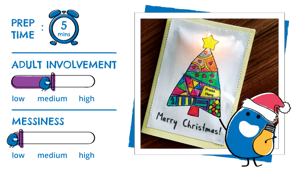 Atom & the Dot It's Christmas! Light up christmas card with paper circuit