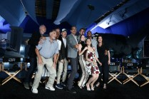 """EXCLUSIVE - Brent Spiner, Judd Hirsch, Vivica A. Fox, Bill Pullman, Director/Writer Roland Emmerich, Jeff Goldblum, Liam Hemsworth Maika Monroe, Grace Huang, Jessie Usher and Sela Ward seen at the """"Independence Day Resurgence"""" Global Production Event on Monday, June 22, 2015, in Albuquerque, New Mexico. (Photo by Eric Charbonneau/Invision for Twentieth Century Fox/AP Images)"""