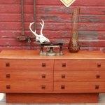 Danish Modern Teak 6 Drawer Dresser Atomic Flat