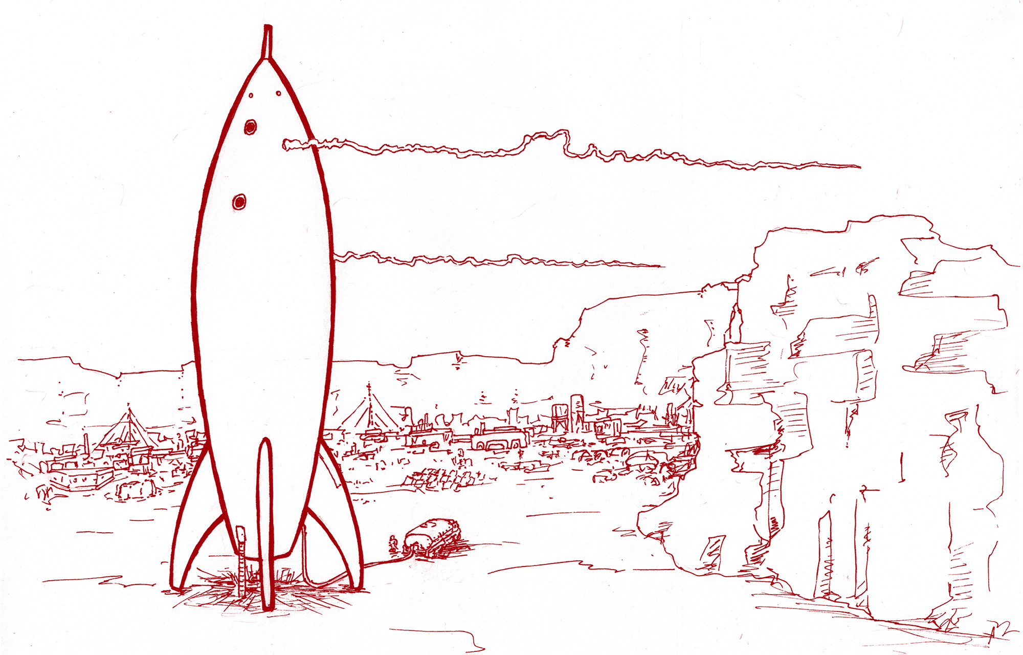 rocket getting ready to launch from an outpost on Mars. Original artwork by Dana Burman