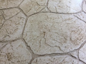 Flagstone pattern, light colored stamped concrete