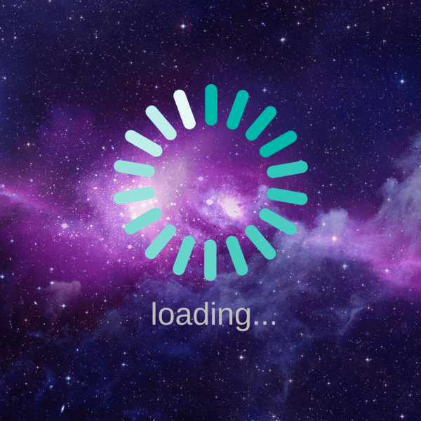 A circle that indicates a web page is loading over an image of outer space