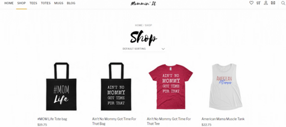 Screenshot of the shop page for Mommin' It