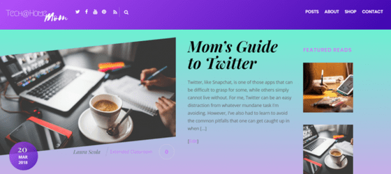 Screenshot of the home page of Tech at Home Mom blog