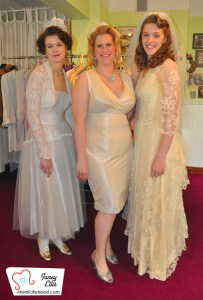 Lovely ladies show off vintage gowns. The middle dress is an exception, it was handmade by AlexSandra