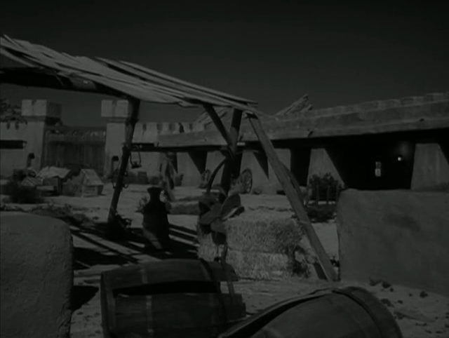 """Vasquez Rocks in the background of a villain's fort in The Wild Wild West episode """"The Night of the Sudden Plague."""""""