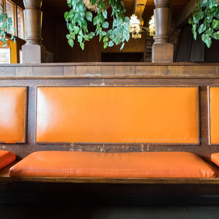 Interior of the Original Pancake House and its orange patent leather seats.