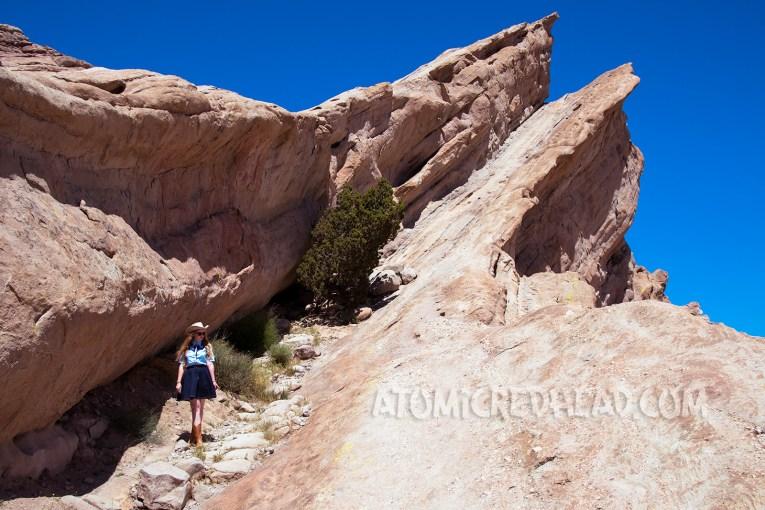 Walking along the crevasses of Vasquez Rocks