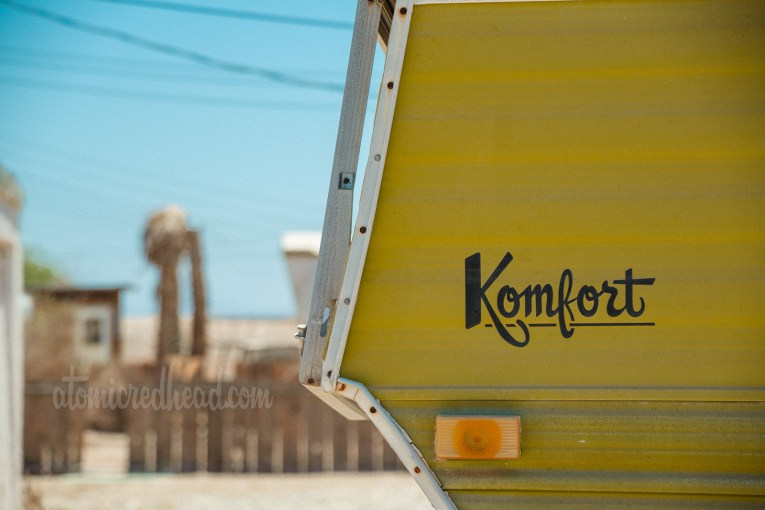 "Vintage camper by ""Komfort"" two-tone, white and olive green."