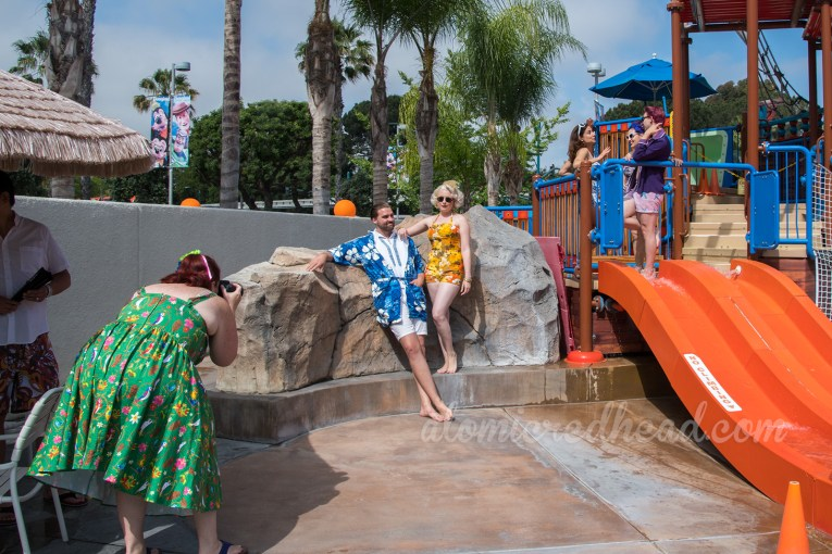 Behind the scenes - Stephanie photographs Tyler and Cailey as they enjoy the pirate waterpark
