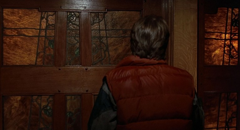 Marty knocking on Doc's door. While this is an exterior shot, it is so close it is easy to obscure the fact it is the Blacker House. Similar stylings of a Japanese influenced design with stained glass.