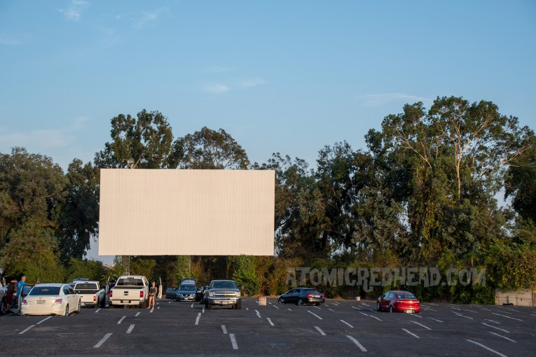 Movie screen looms tall with several trees behind it.