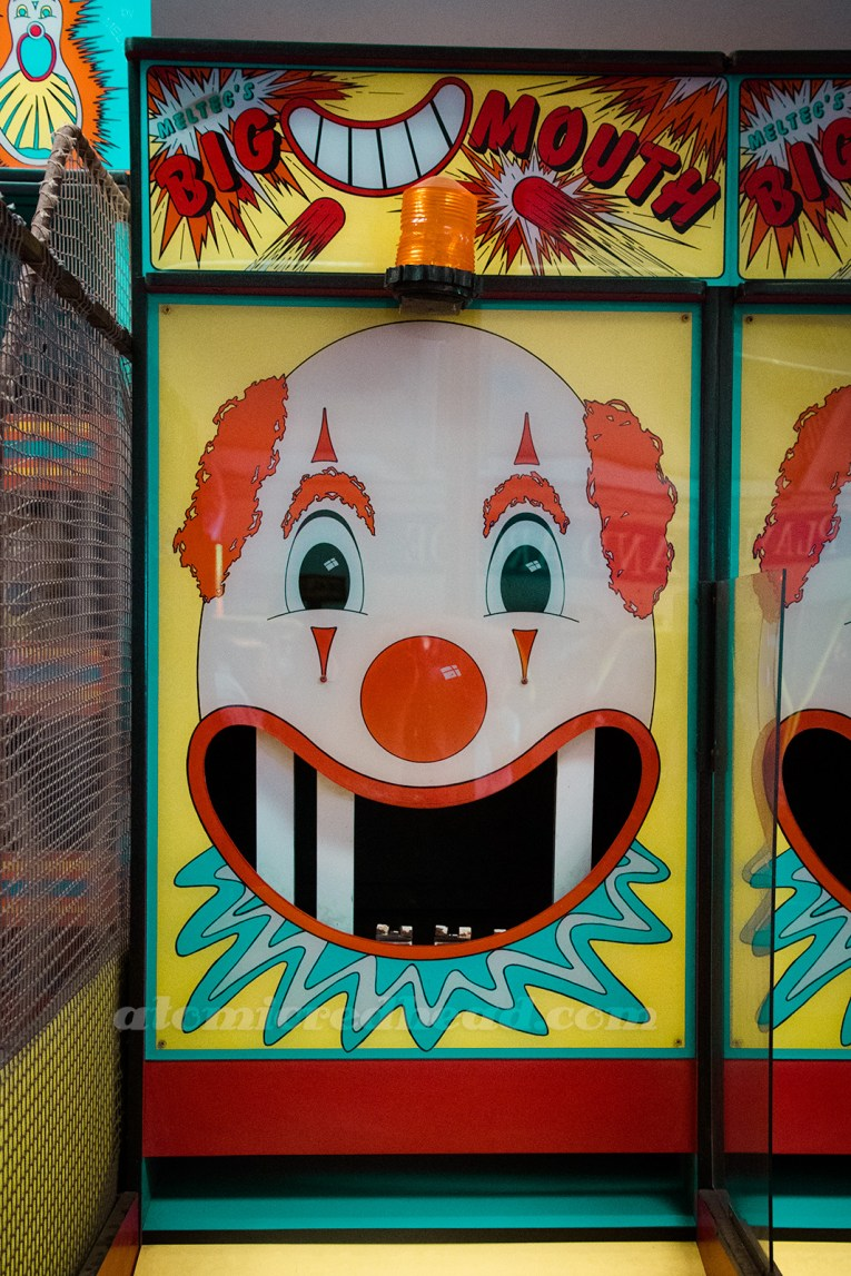 Inside Playland - the classic Big Mouth game where you knock the teeth out of the clown's mouth.